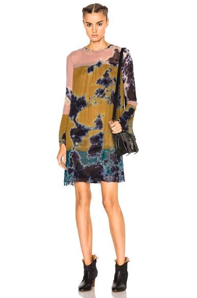Raquel Allegra Bell Sleeve Vintage Dress in Multi Tie Dye