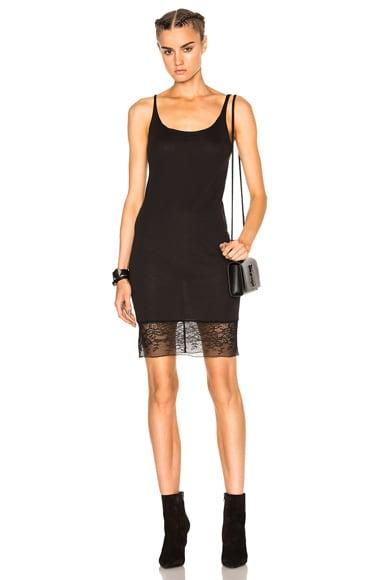 Raquel Allegra Slip Dress with Lace in Black