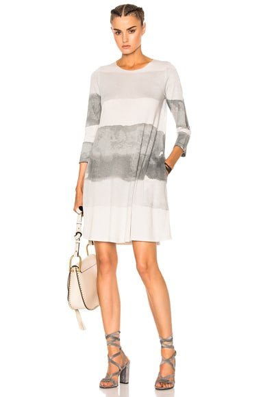 Raquel Allegra Bell Sleeve Dress in Gray Ink Tie Dye