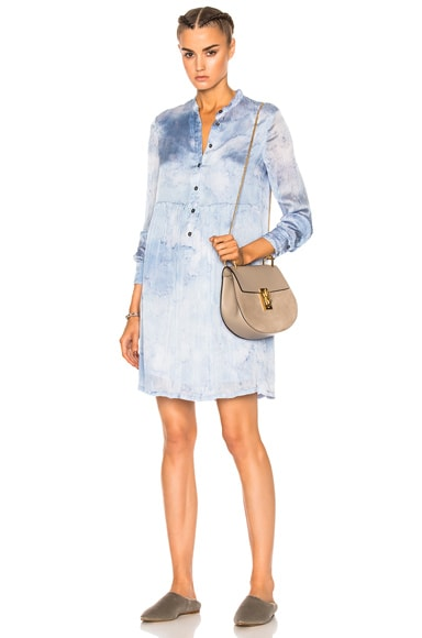 Raquel Allegra Empire Shirt Dress in Sky Tie Dye