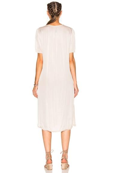 Liquid Satin Ribbon Placket Dress