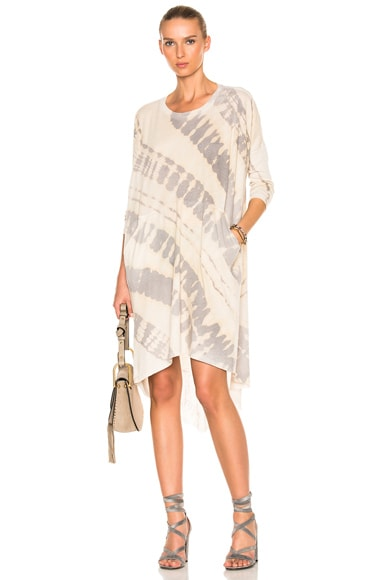 Raquel Allegra Oversize Dress in Fossil Gray Tie Dye