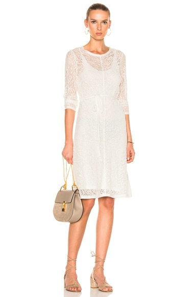 Raquel Allegra Bias Long Sleeve Dress in Ivory