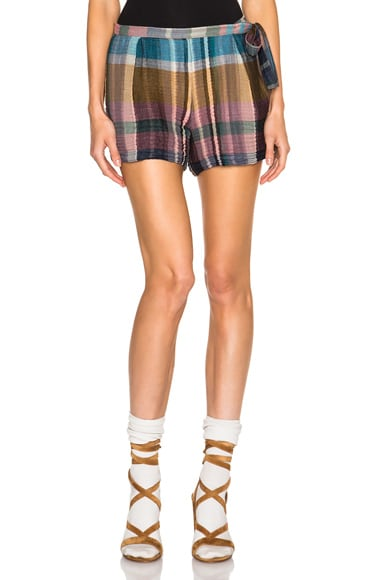 Raquel Allegra Waist Tie Shorts in Gold & Madras Pink