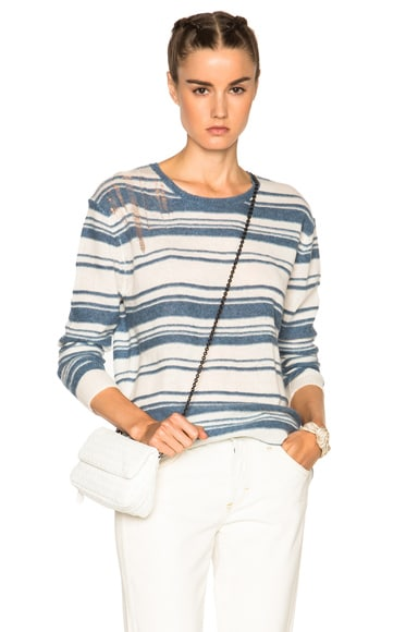 Raquel Allegra Shred Pullover Sweater in Vintage Blue & Ivory