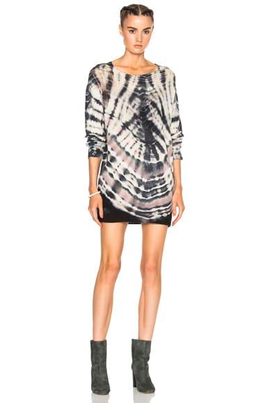 Raquel Allegra Shred Shoulder Sweater in Black Dashiki Tie Dye