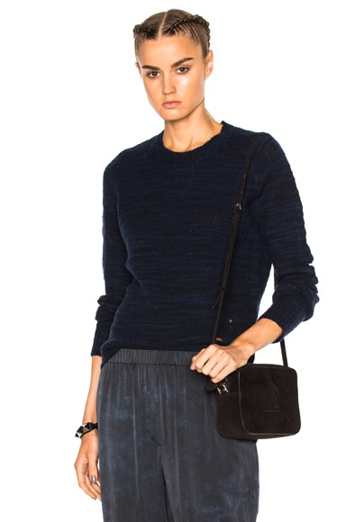 Raquel Allegra Slit Elbow Crew Sweater in Indigo