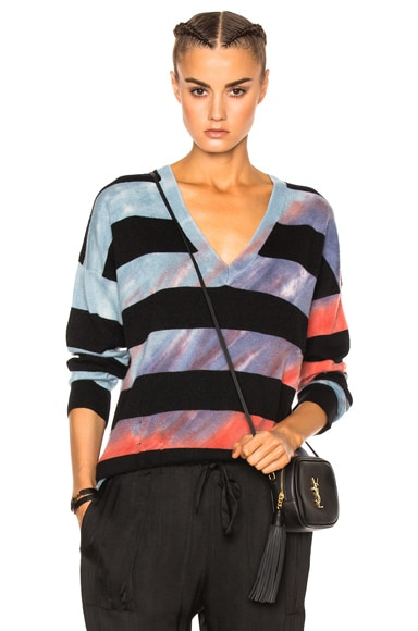 Raquel Allegra Boyfriend V Neck Sweater in Blue Sapphire Stripe Tie Dye