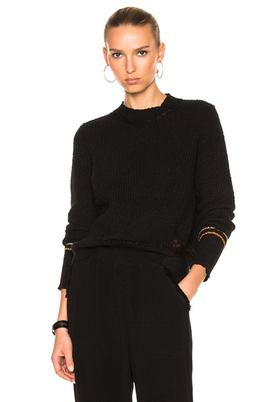 Raquel Allegra Shred Crew Pullover in Black