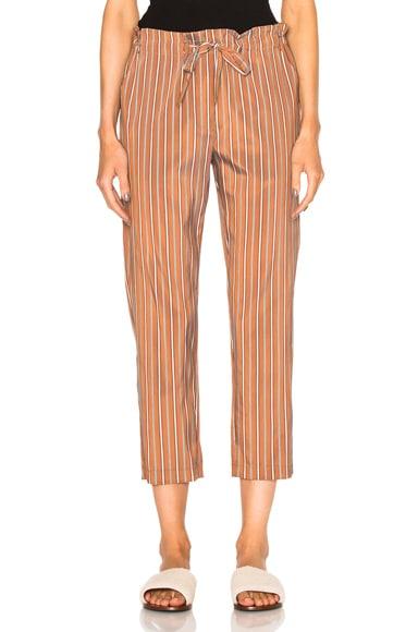 Raquel Allegra Tie Front Pants in Copper Stripe