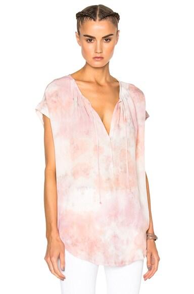 Raquel Allegra Shirred Combo Top in Rose Quartz Tie Dye