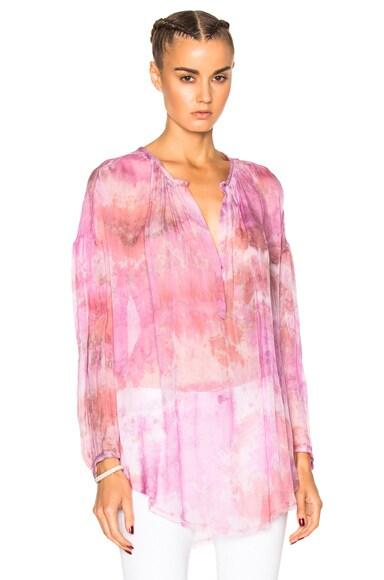 Raquel Allegra Shirred Fuchsia Tunic in Tie Dye