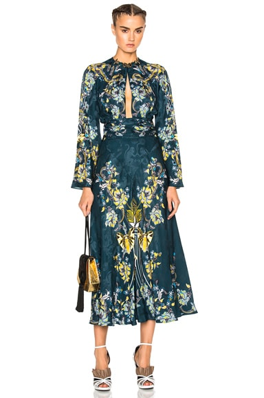 Roberto Cavalli Printed Long Sleeve Dress in Blue Avio