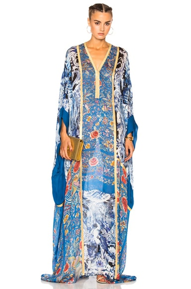 Roberto Cavalli Printed Woven Dress in Blue Multi