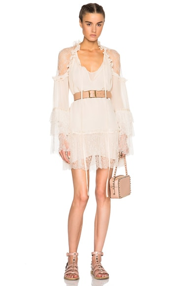 Roberto Cavalli Georgette Dress in Ivory