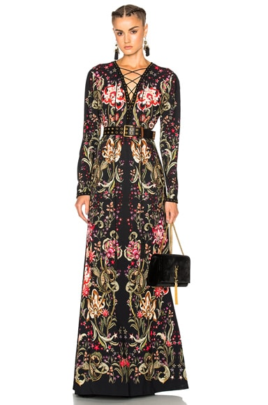 Roberto Cavalli Lace Up Long Dress in Black
