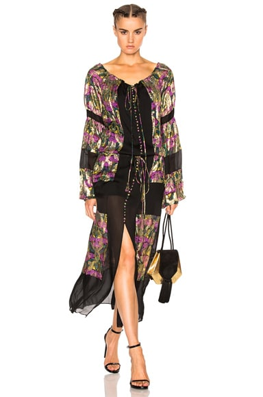 Roberto Cavalli Contrast Panel Printed Dress in Black & Prune
