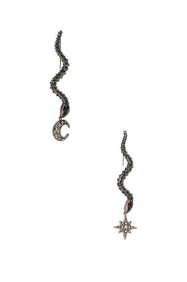 Roberto Cavalli Star & Moon Earrings in Antique Gold & Black