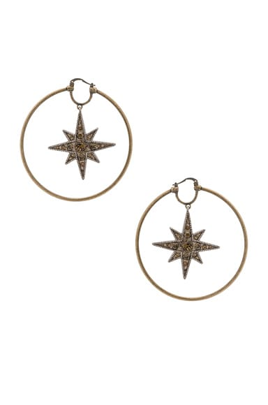 Roberto Cavalli Star Hoop Earrings in Gold & Smoky