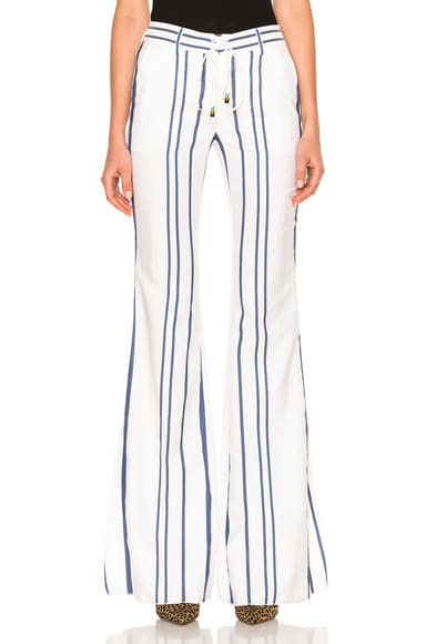 Roberto Cavalli Lace Up Pants in Blue & White
