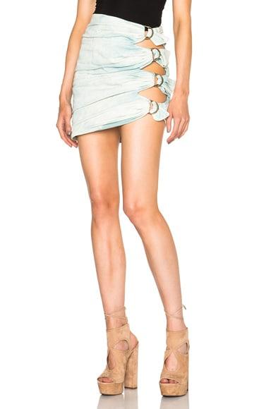 Roberto Cavalli Tie Side Skirt in Salvia Green