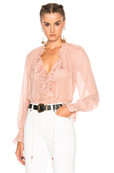 Roberto Cavalli Woven Blouse in Blush
