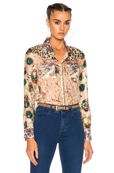 Roberto Cavalli Printed Shirt in Patch Rosa & Beige & Green
