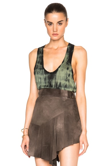 Roberto Cavalli Dyed Tank Top in Black & Military Green