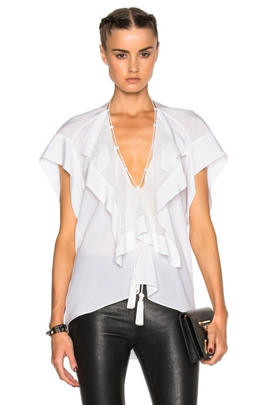 Roberto Cavalli Ruffle Blouse in White
