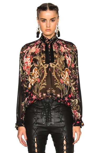 Roberto Cavalli Printed Georgette Scarf Blouse in Black