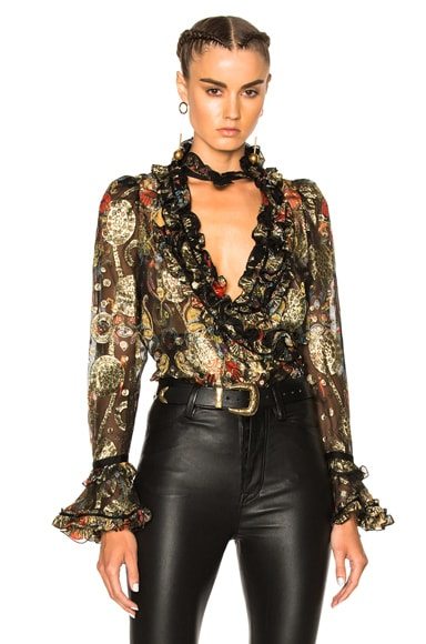 Roberto Cavalli Printed Blouse in Black, Red & Gold