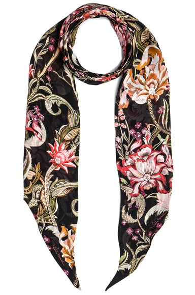 Roberto Cavalli Printed Light Satin Scarf in Multi