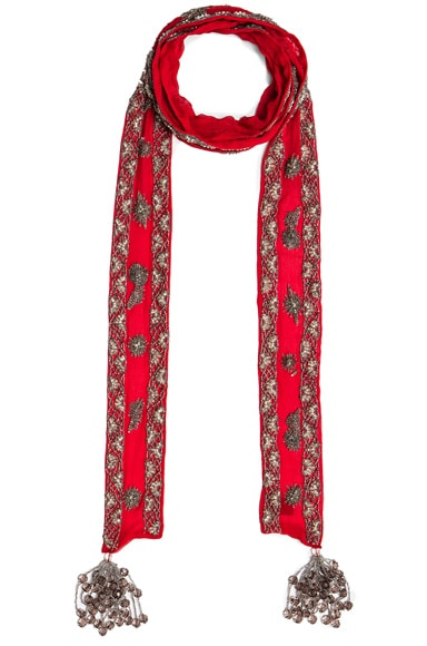 Roberto Cavalli Embroidered Scarf in Red
