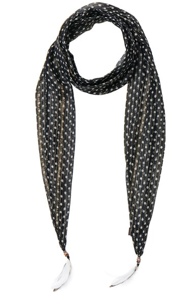 Roberto Cavalli Thin Printed Scarf in Black