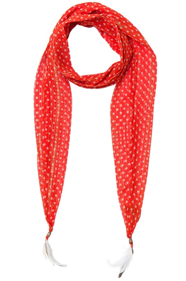 Roberto Cavalli Thin Printed Scarf in Red