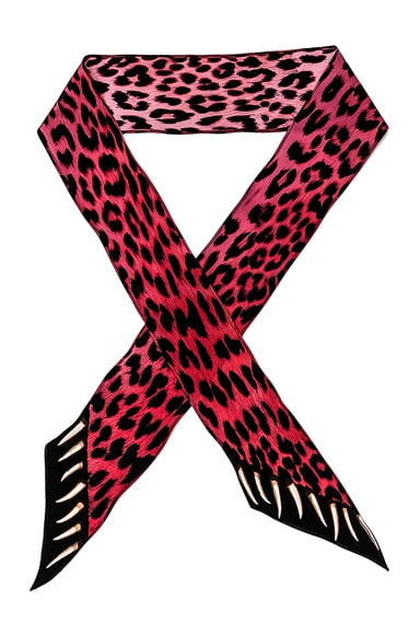 Rockins Leopard's Teeth Super Skinny Scarf in Pink