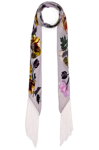 Rockins Flora Classic Skinny Fringe Scarf in Ivory