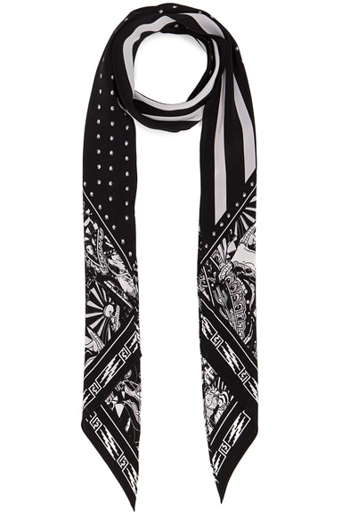 Rockins x FWRD Exclusive Desert Paisley Classic Skinny Scarf in Black