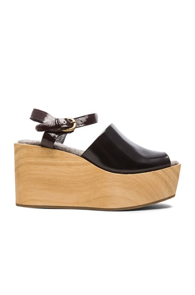Rachel Comey Bowes Leather Wedges in Black Satinado