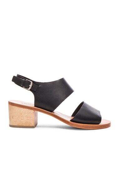 Rachel Comey Leather Tulip Sandals in Polished Black