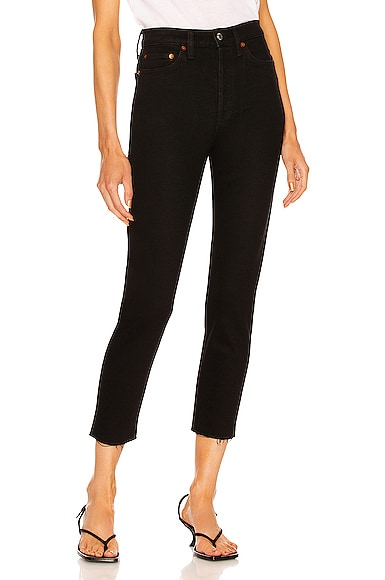 RE/DONE ORIGINALS High Rise Ankle Crop in Black