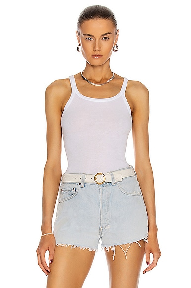 RE/DONE Ribbed Tank Top in Optic White