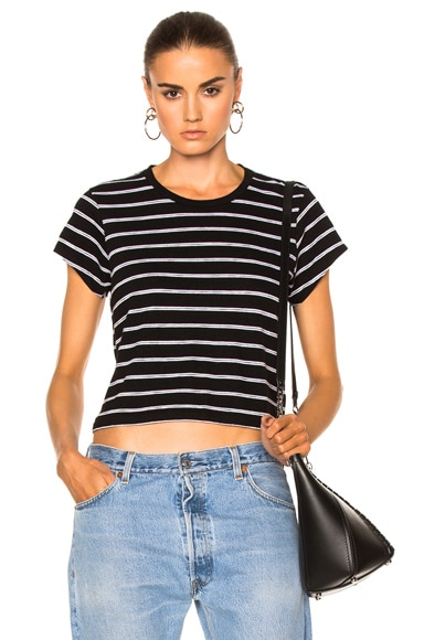 RE/DONE Stripe Boxy Tee in Black