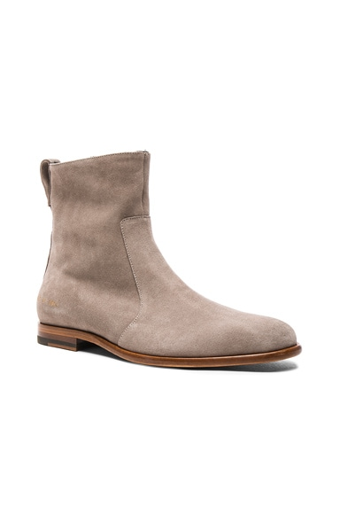 Robert Geller x Common Projects Suede Chelsea Boots in Sand