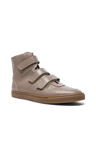 Robert Geller x Common Projects Velcro Leather High Tops in Beige