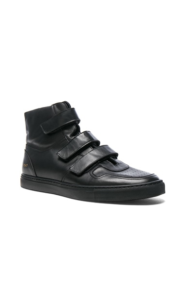 Robert Geller x Common Projects Velcro Leather High Tops in Black