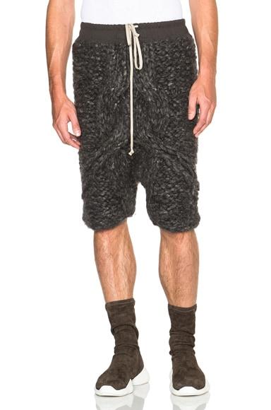 Rick Owens Handknitted Pod Shorts in Dark Dust