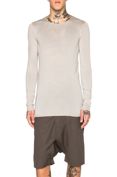 Rick Owens Cashmere Round Neck Sweater in Pearl