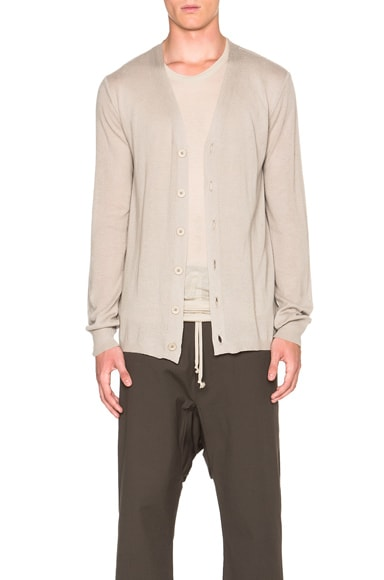Rick Owens Cashmere Short Cardigan in Pearl