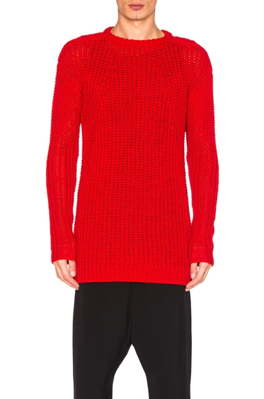 Rick Owens Oversized Round Neck Sweater in Red